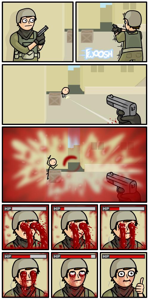 Por isso a tela vermelha ao ser ferido...